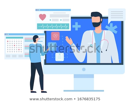 Doctor or Assistant, Cardiogram Icon, PC Vector Stock photo © robuart