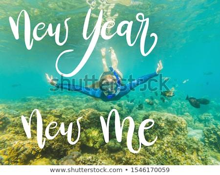 Новый год новых мне счастливым женщину Подводное плавание Сток-фото © galitskaya