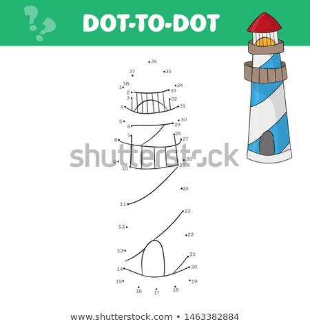 Coloring page for kids. Cartoon lighthouse. Vector game dot-to-dot Stock photo © natali_brill