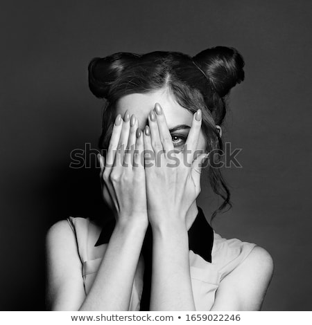photo of girls who hide her face with hair № 22583