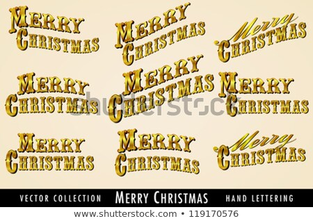Selection of Vintage Gold Merry Christmas lettering Stock photo © fenton