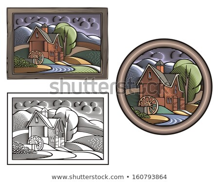 vector illustration of a farm with a watermill done in retro woodcut style stock photo © clipart_design