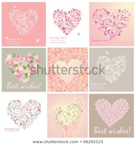 Dia dos namorados cartão coração flores borboleta Foto stock © lapesnape
