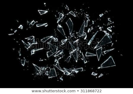 peças · rachado · vidro · preto · grande - foto stock © arsgera