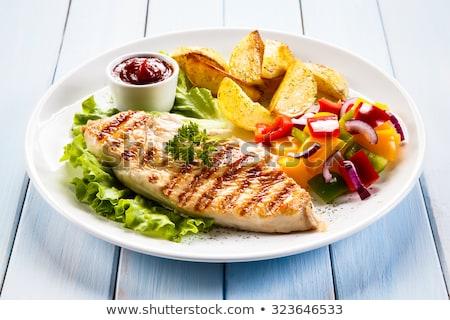 aardappel · gemarineerd · kipfilet · voedsel · restaurant · kip - stockfoto © m-studio