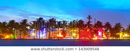 Naplemente dél tengerpart színes felhők Miami Stock fotó © meinzahn