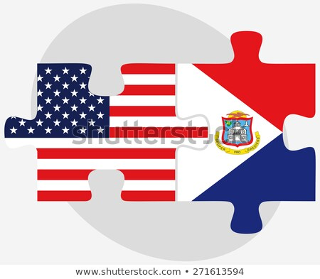 usa and sint maarten dutch part flags in puzzle stock photo © istanbul2009