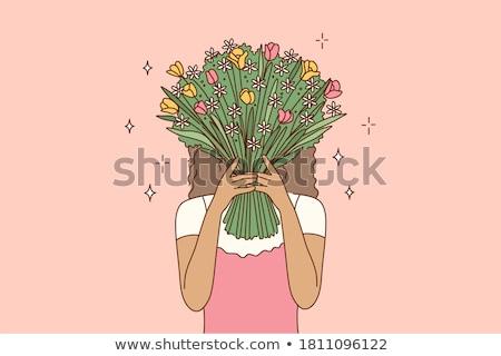 девушки · цветы · красоту · женщины · Lady · Постоянный - Сток-фото © olegtoka