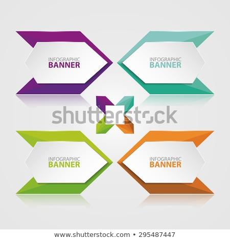 absztrakt · origami · terv · bannerek · felirat · kék - stock fotó © sarts