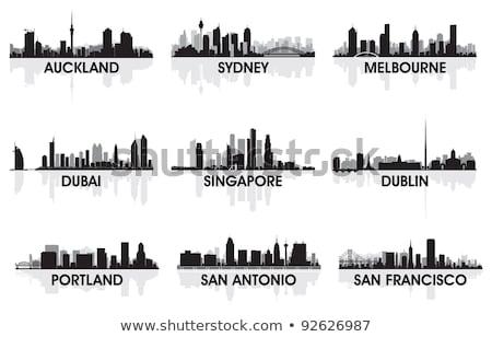 Singapore City Skyline Silhouette Background Сток-фото © YurkaImmortal