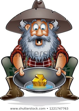 Cartoon prospector with a gold nugget Stock photo © bennerdesign
