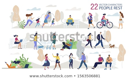 People in Park Boy Sitting on Bench Couple Jogging Stock photo © robuart