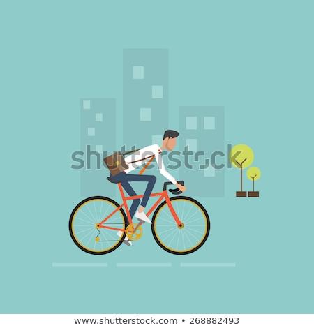 велосипед · зеленый · город · вектора · среде · экология - Сток-фото © rastudio