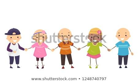 Stickman Kids Girl Boy Alopecia Illustration Stock photo © lenm