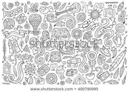 Establecer hippie Cartoon garabato objetos colorido Foto stock © balabolka