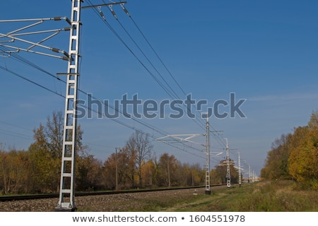 railroad track, embankment, and power poles Stock photo © vlaru