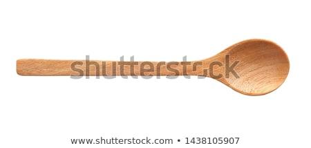 Vintage cuchara de madera aislado blanco cocina cocina Foto stock © natika