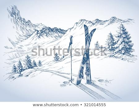 Ski equipment in snowy mountain scene Stock photo © IS2