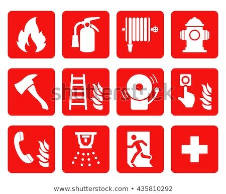 Tűz ikon tér gomb láng színes Stock fotó © Ecelop