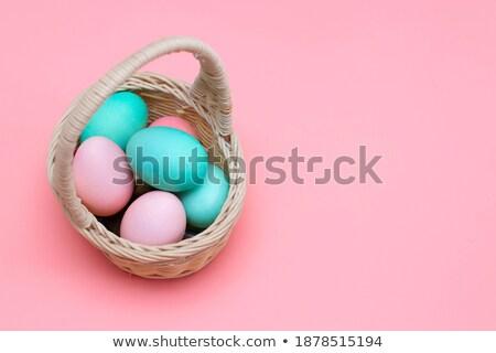 Roze eieren paaseieren mand bunny patroon Stockfoto © fyletto