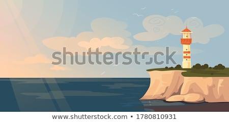 Gaviotas rocas mar ilustración agua Foto stock © adrenalina