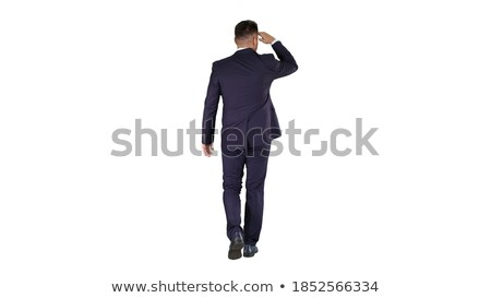 Businessman look far for new business opportunities. Isolated on white background Stock photo © alphaspirit