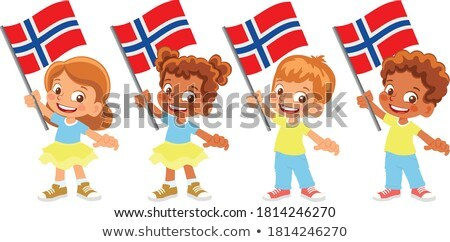 Fiú lány zászló Norvégia illusztráció gyermek Stock fotó © colematt
