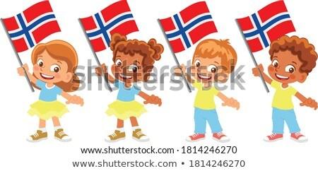 Nino nina bandera Noruega ilustración nino Foto stock © colematt
