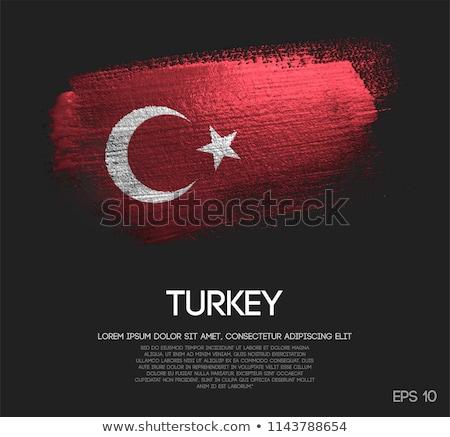 Turkey flag on metalic background Stock photo © colematt