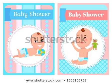 Baby Shower Posters Set Six or Seven Month Infants Stock fotó © robuart