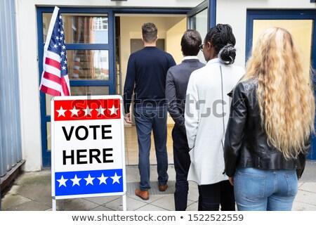 Emberek áll kívül szavazás szoba csoport Stock fotó © AndreyPopov