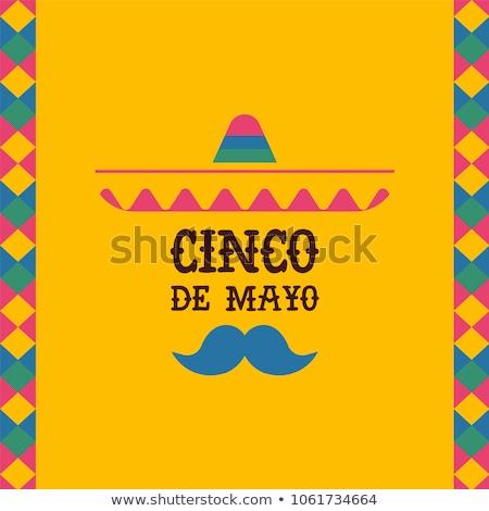 Cinco de Mayo card of mexican mariachi man hat stock photo © cienpies