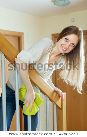 Szőke haj szett kaukázusi lány háztartás Stock fotó © toyotoyo