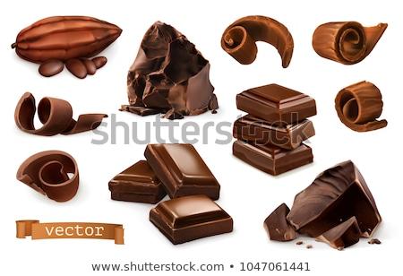 Vektor csokoládé szelet darabok izolált fehér sötét Stock fotó © freesoulproduction