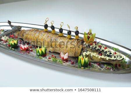 Töltött zöldségek pázsit orosz étel hal Stock fotó © olira
