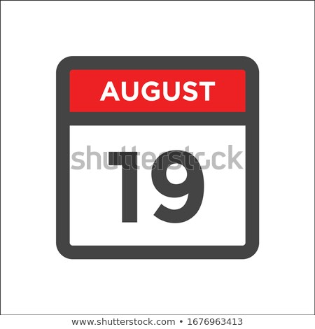 Simple black calendar icon with 19 august date isolated on white Stock photo © evgeny89