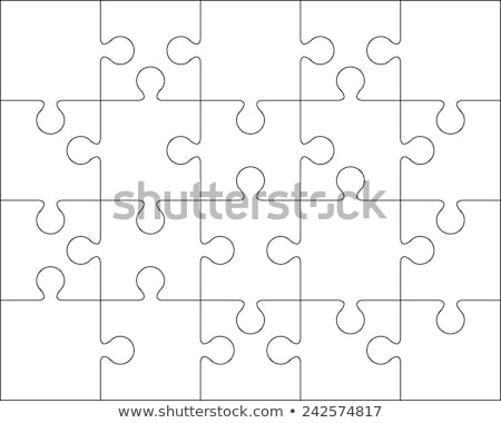 White puzzles pieces seamless pattern. Jigsaw Puzzle template ready for print. Cutting guidelines is Stock photo © evgeny89