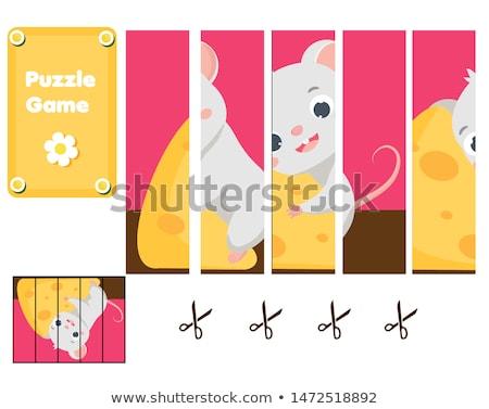 Cartoon kaas puzzel peuters wedstrijd stukken Stockfoto © natali_brill