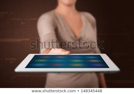 Mulher branco comprimido aplicativos Foto stock © ra2studio