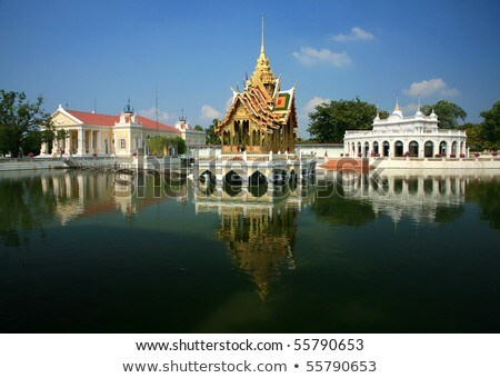 Bang Pa-In Aisawan, artificial lake with bridge and temple in Th Stock photo © meinzahn