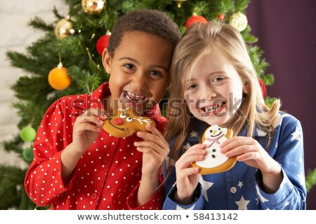 young boy eating mince pie in front of christmas tree stock photo © monkey_business