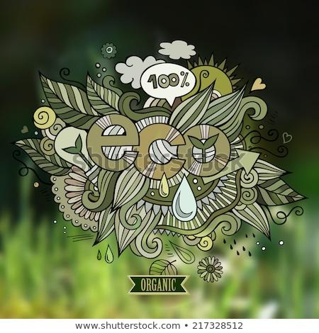 100 · bio · pecsét · vektor · háttér · vásárlás - stock fotó © balabolka