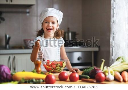 menina · legumes · ilustração · comida · natureza · pimenta - foto stock © adrenalina