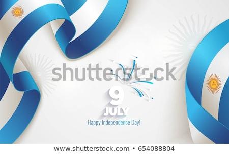 Fényes Argentína zászló fényes vektor művészet Stock fotó © vector1st