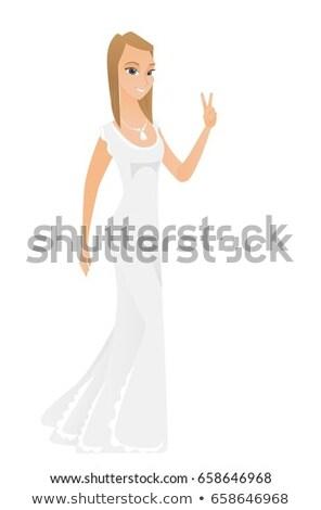 Kaukasisch verloofde tonen overwinning gebaar teken Stockfoto © RAStudio