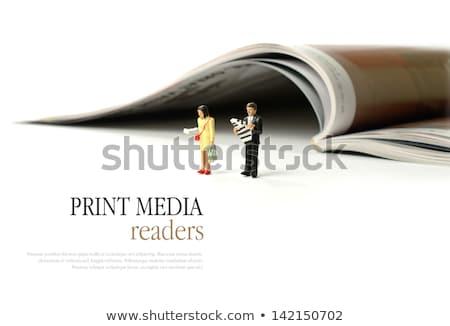 Stockfoto: Aandachtig · man · lezing · magazine · restaurant · business