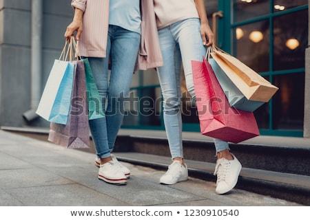 画像 女性 青 ショッピングバッグ グレー ストックフォト © wavebreak_media