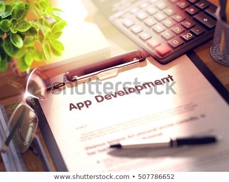 Mobile Geo Technology - Text on Clipboard. 3D. Stock photo © tashatuvango