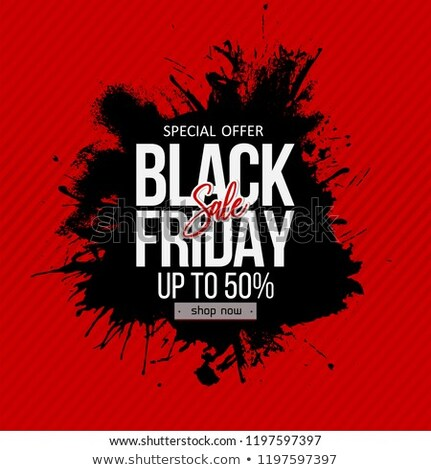 Stockfoto: Black Friday Abstract Sale Background With Ink Stroke