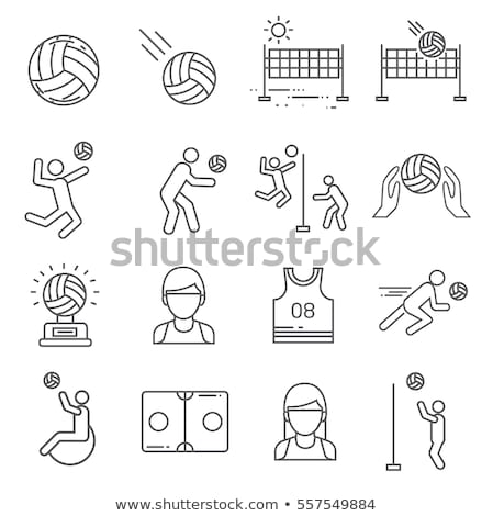 Preto voleibol ícone projeto esportes praia Foto stock © blaskorizov